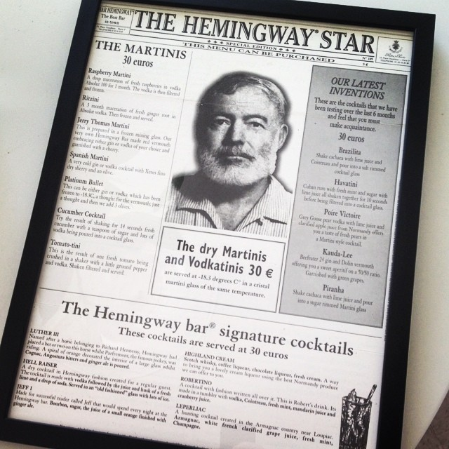 Finally got this memento from @ritzparis framed. Oddly enough, it was ready to be picked up on Mr Hemingway's birthday.